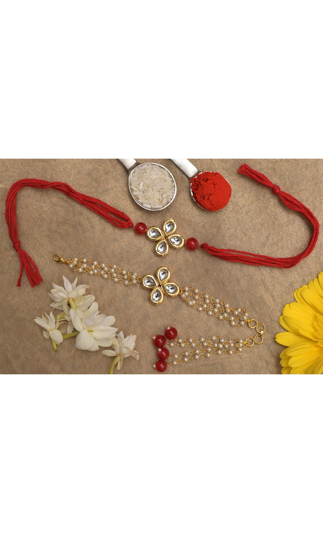 Handmade Kundan Rakhi & Lumba Set of 2. Buy Online
