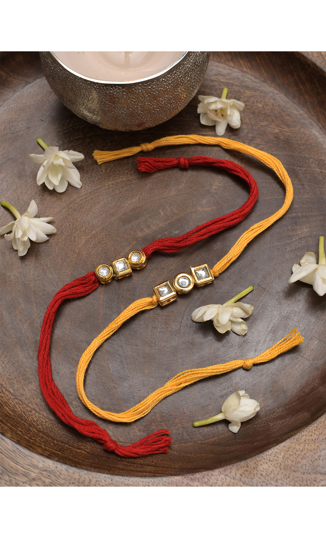 Kundan Gold Tone Rakhi - Set of 2. Buy Online