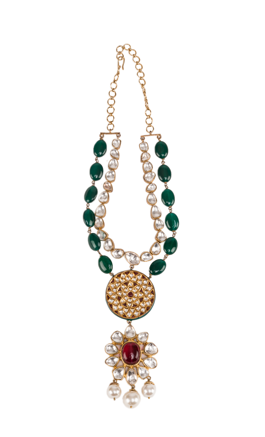 Two Line Necklace with Kundan Flower and a Tikda