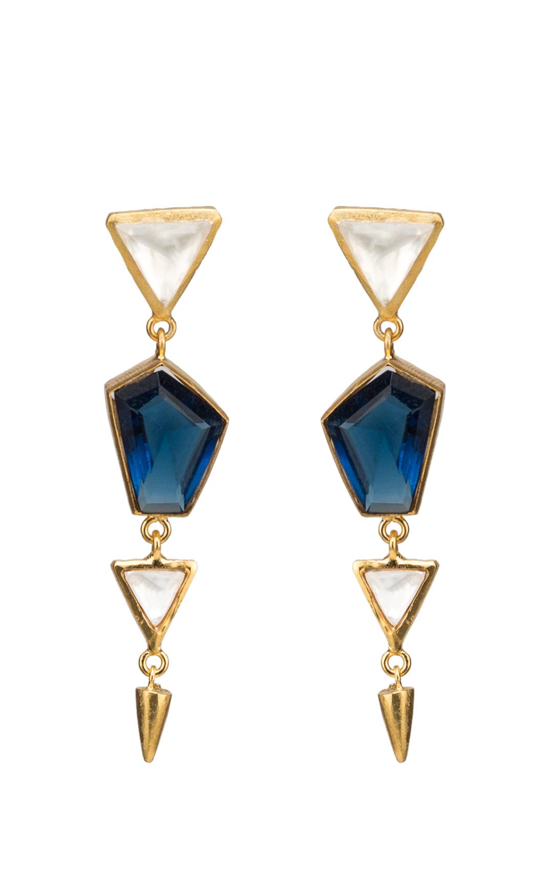 Colored Stone and Triangular Kundan Earrings