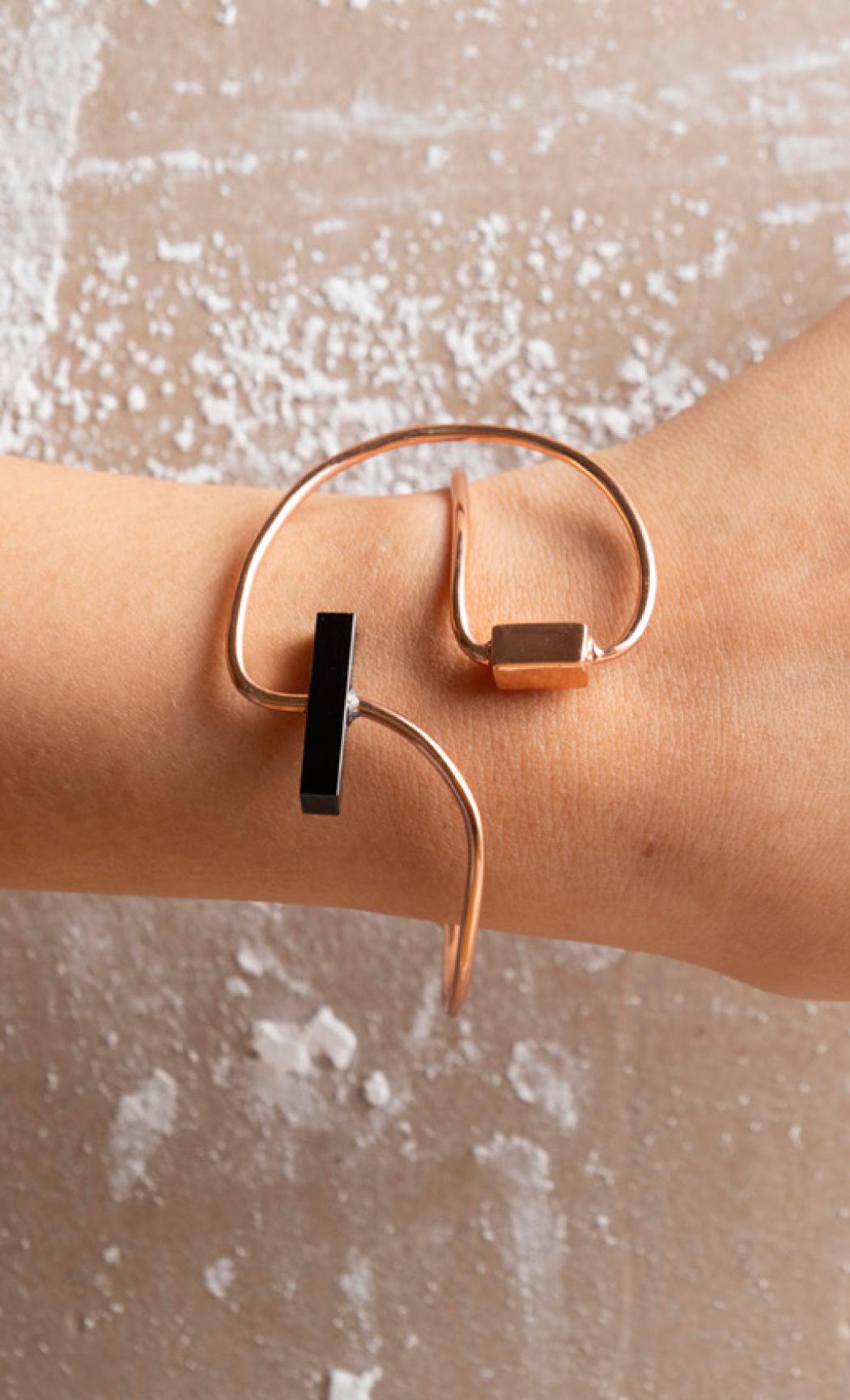 Black Onyx Abstract Brick Cuff Bracelet - Buy Now.