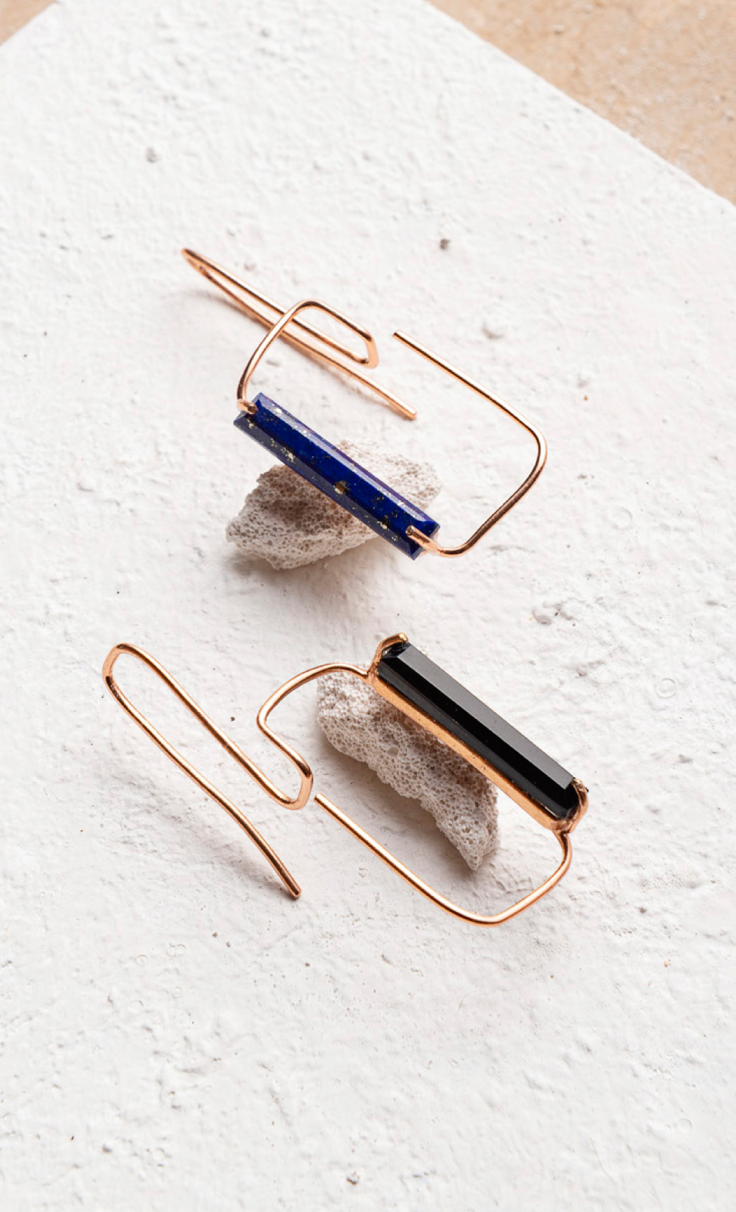 Black Onyx and Lapis Duo Rectangular Earrings - Buy Now.