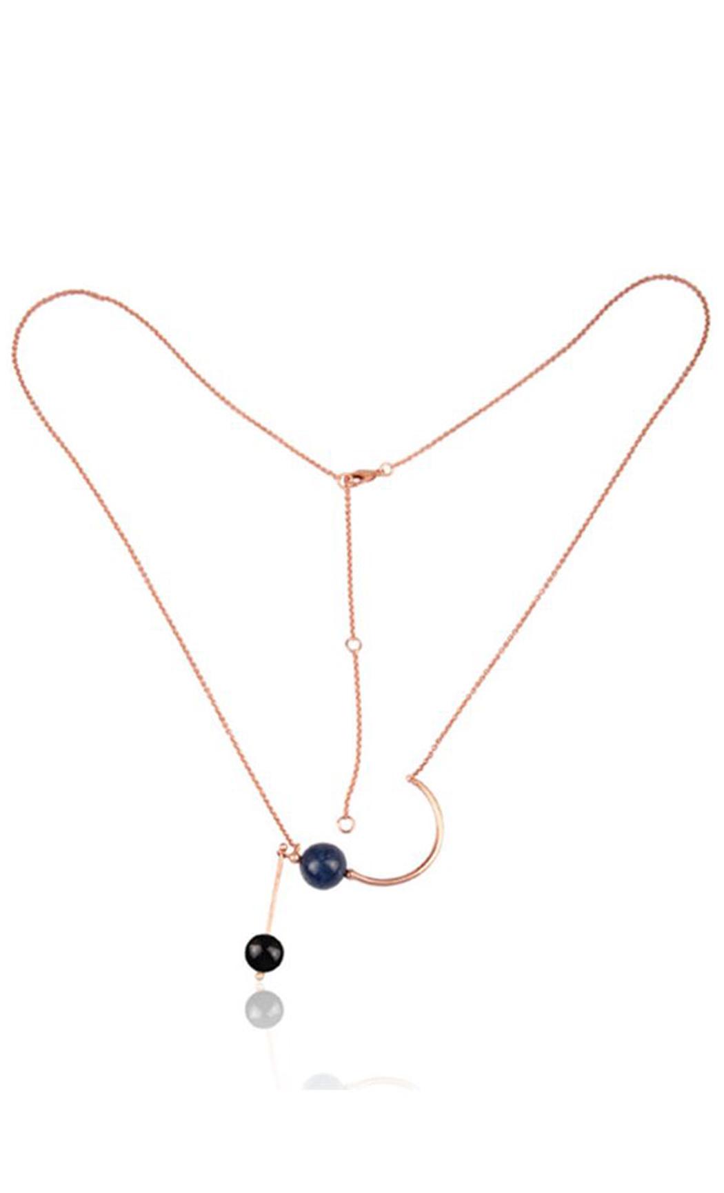 Half Moon Lapis-Onyx Necklace - Buy Now.