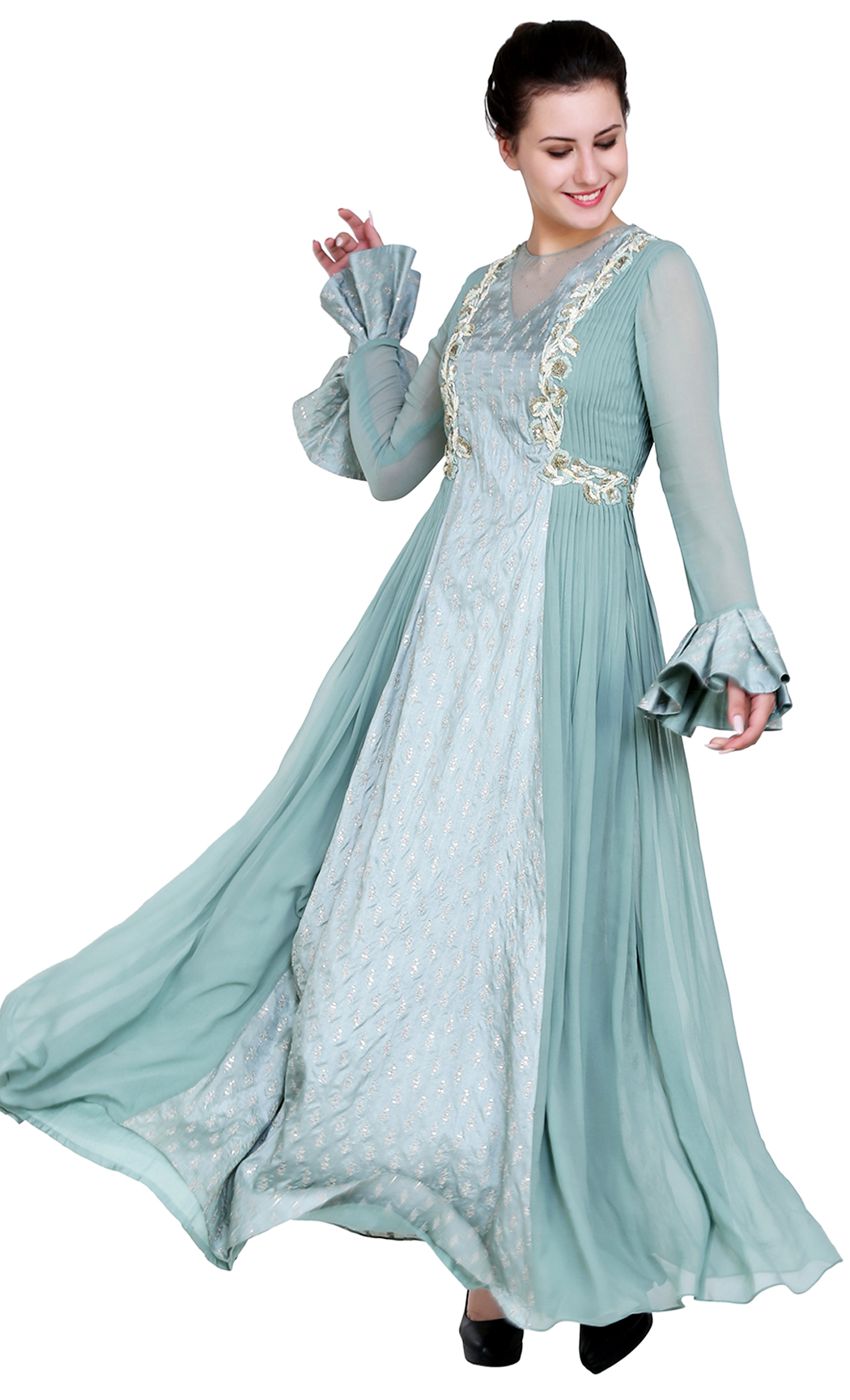 Green Blue Indowestern Anarkali Kurta - Buy Online