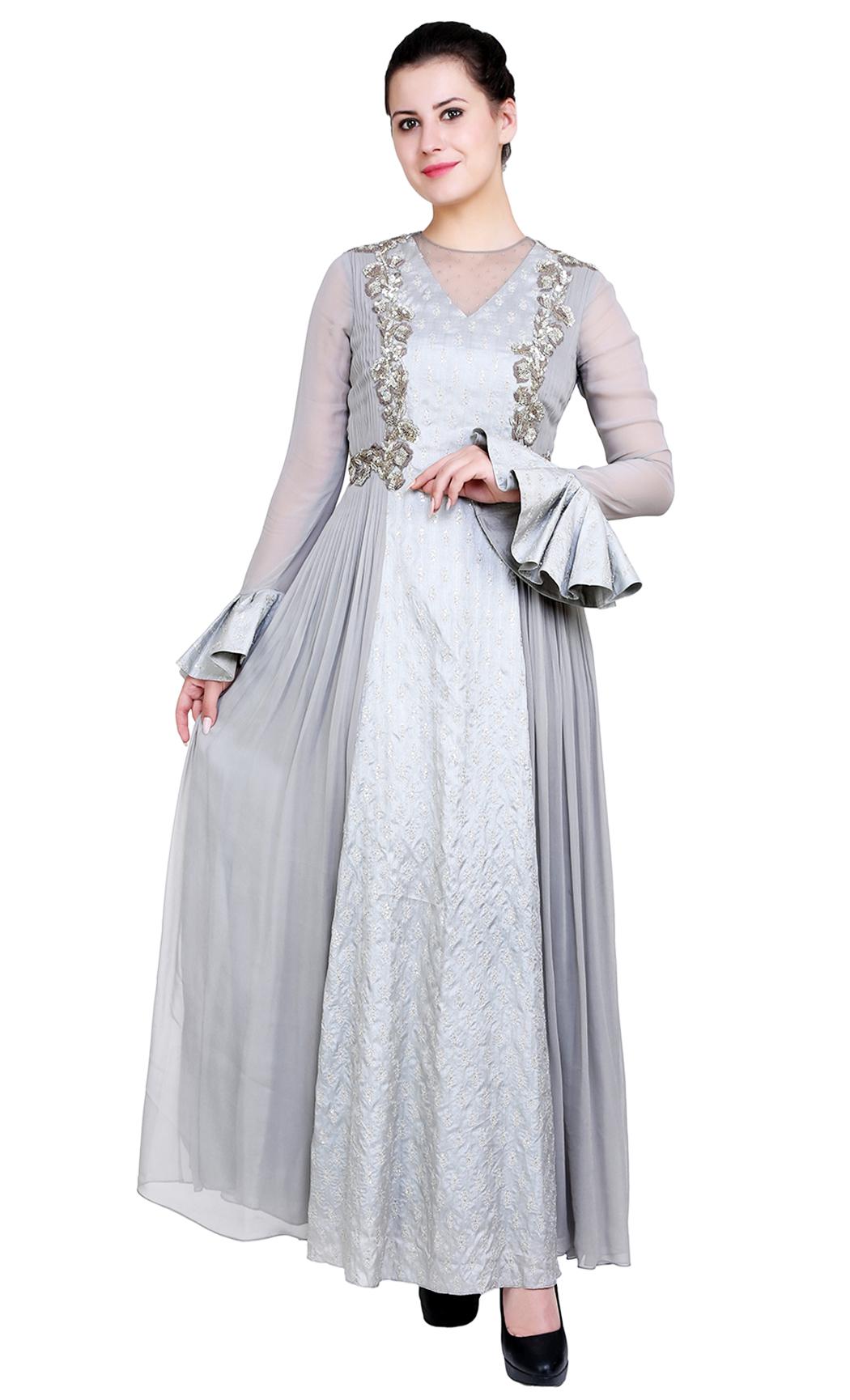 Grey Blue Indowestern Anarkali Kurta - Buy Online
