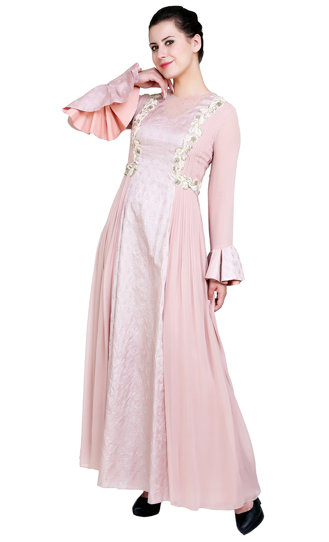 Blush Pink Indowestern Anarkali Kurta - Buy Online