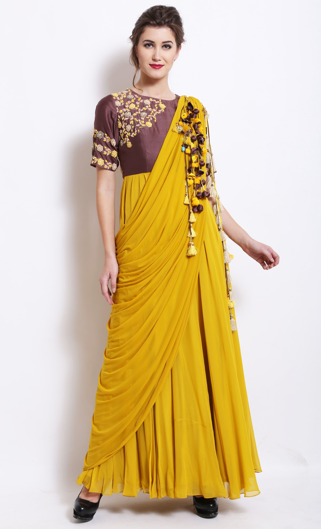 Mustard and Brown Anarkali Kurta with a Draped Dupatta - Buy Online