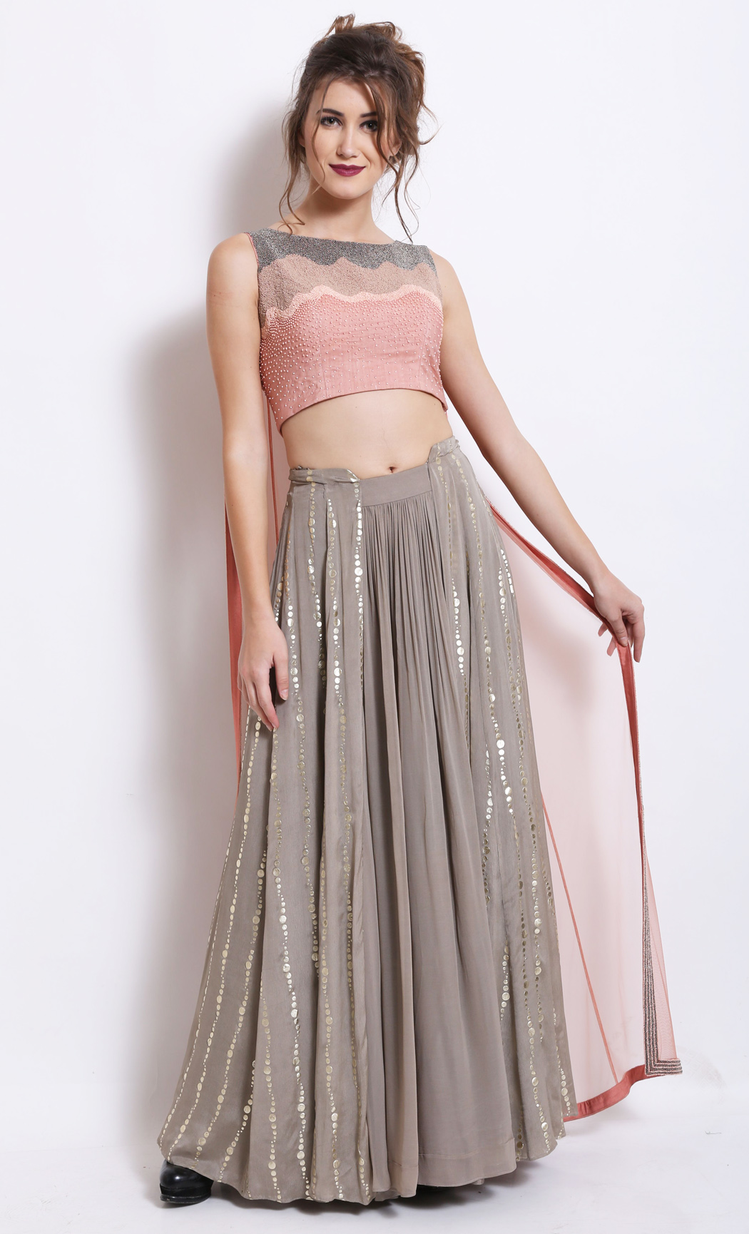 Salmon Pink Crop Top and Cape with a Grey Skirt - Buy Online