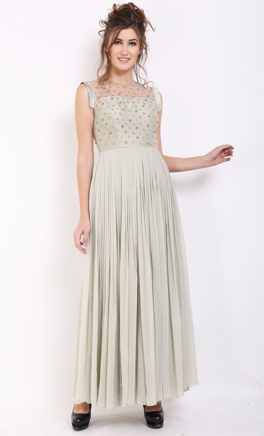 Pale Green Pleated Gown - Buy Online