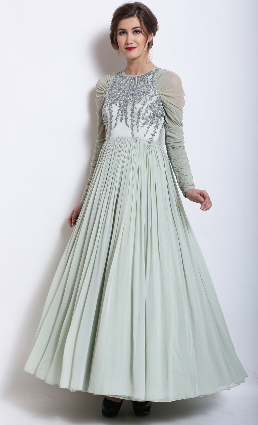 Mint Green Embellished Gown - Buy Online