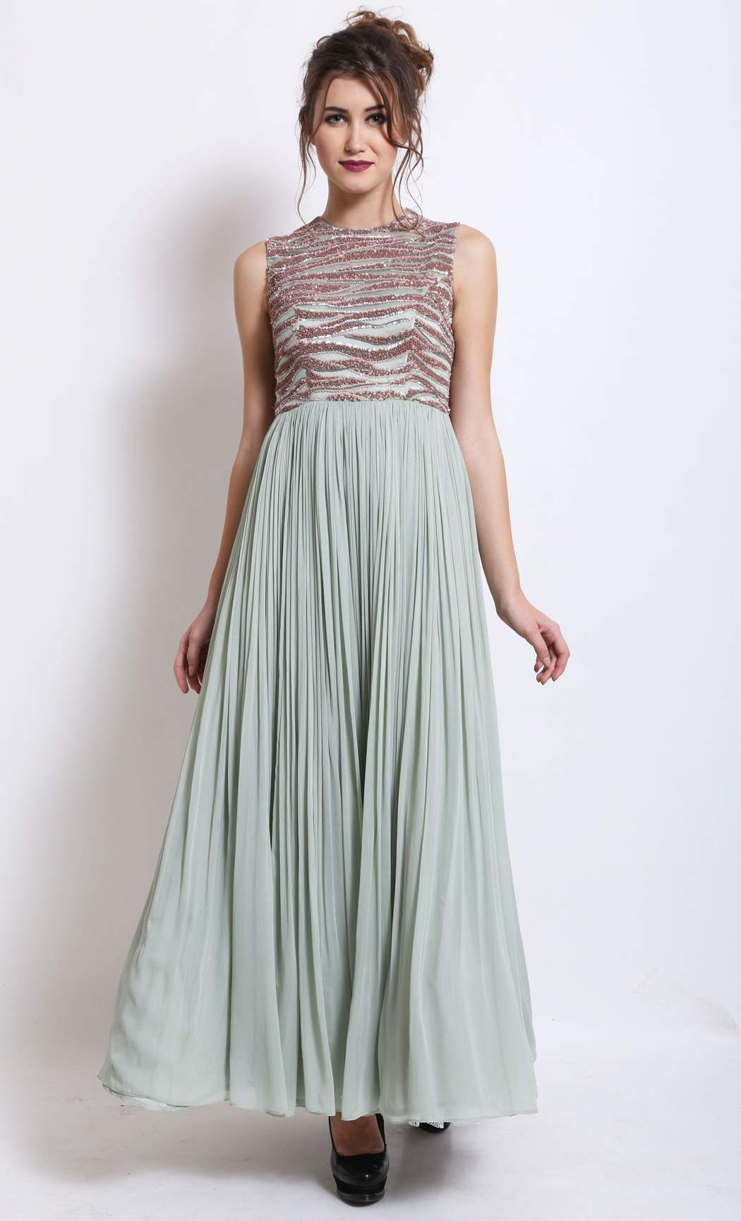 Mint Green Gathered Gown - Buy Online