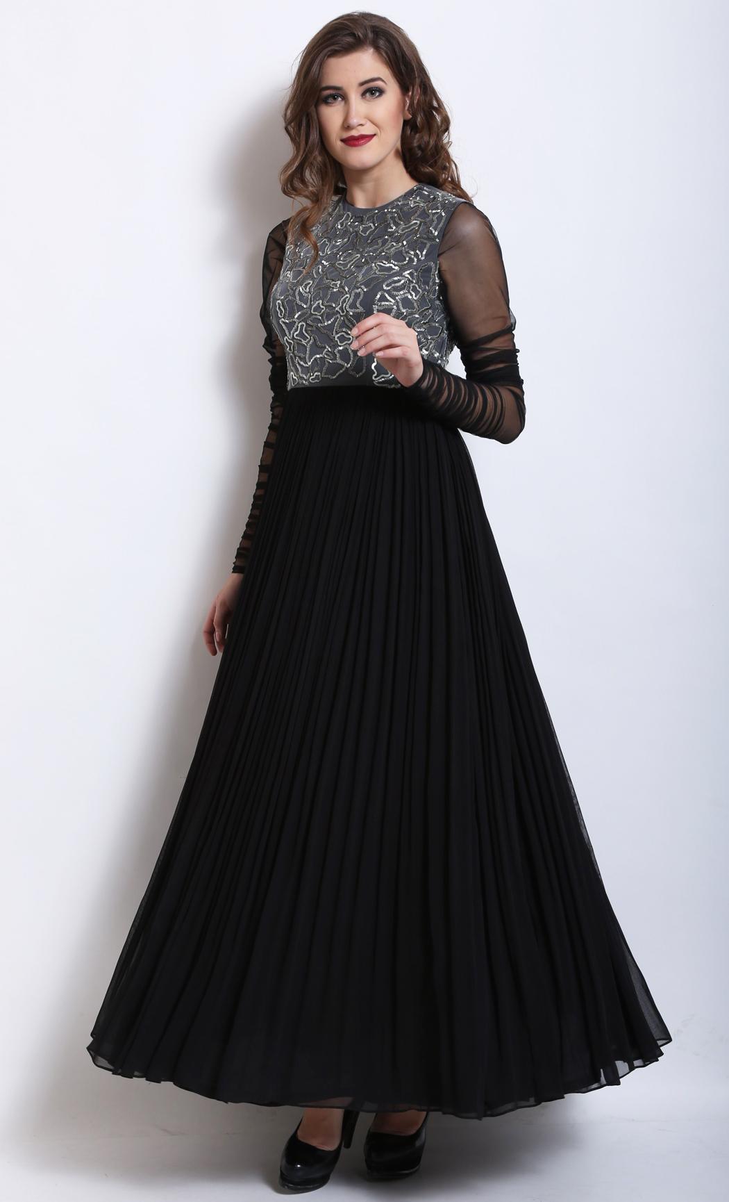 Black and Grey Kurta Gown - Buy Online
