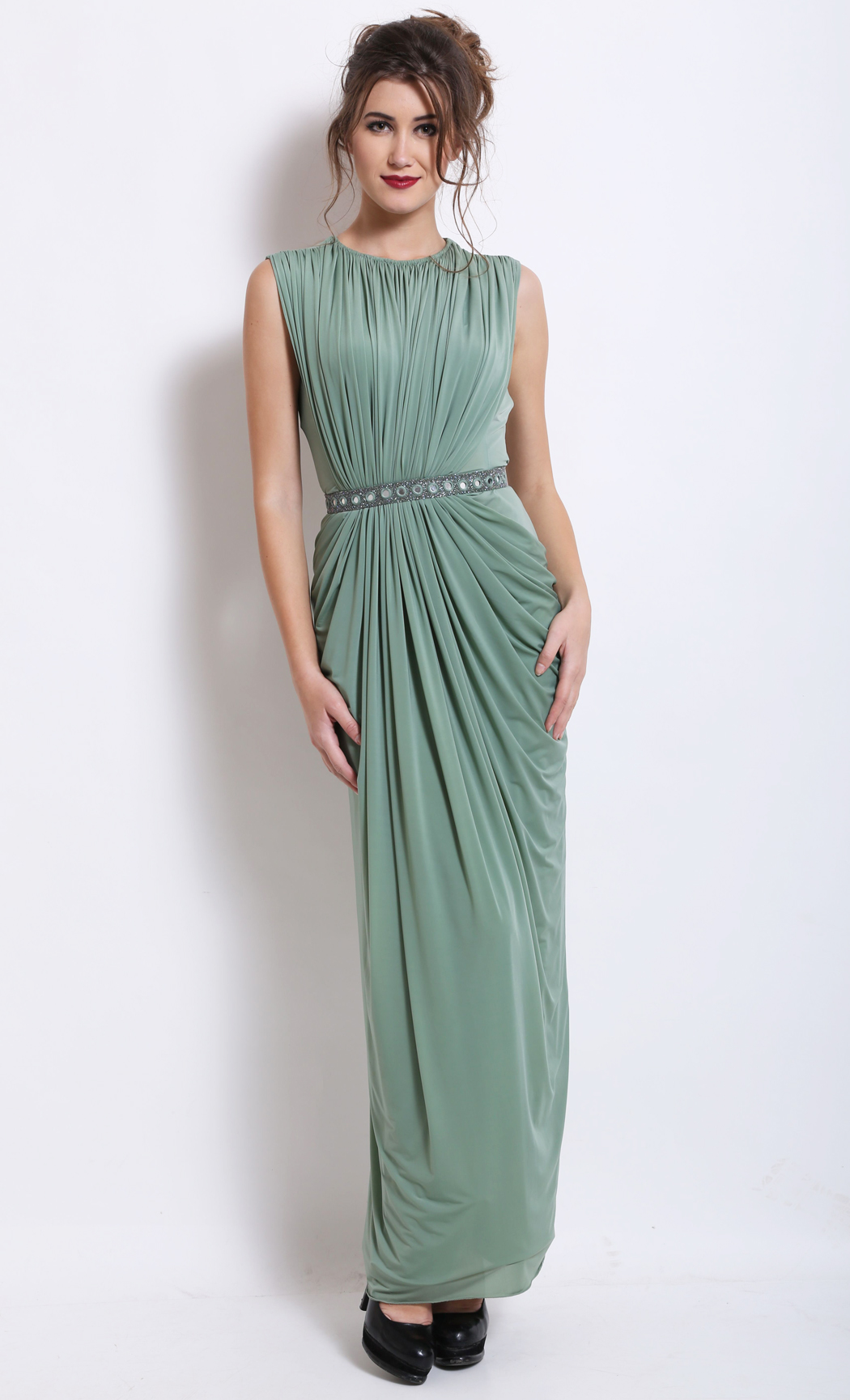 Green Pleated and Draped Cocktail Dress - Buy Online