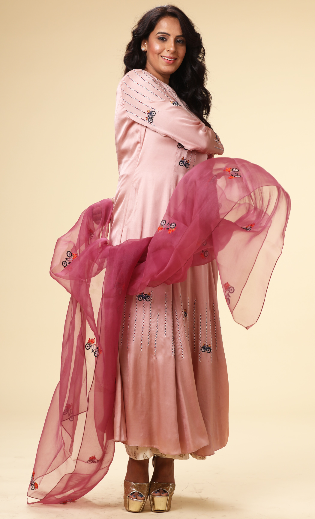 Blush PInk A-Line Kurta with a Purple Dupatta and Pants - Buy Online