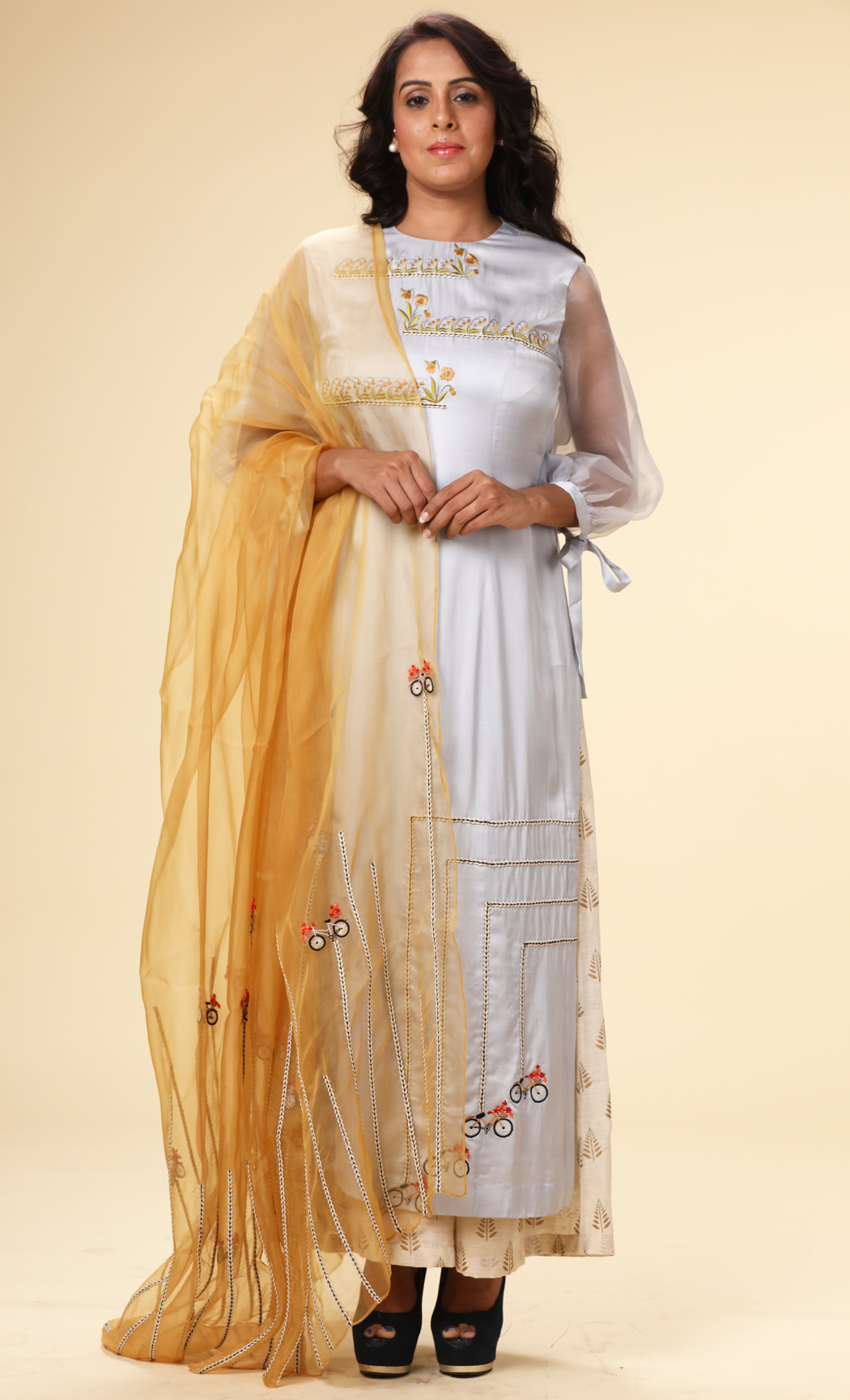 Powder Blue Embroidered Kurta with a Mustard Dupatta and Pants - Buy Online