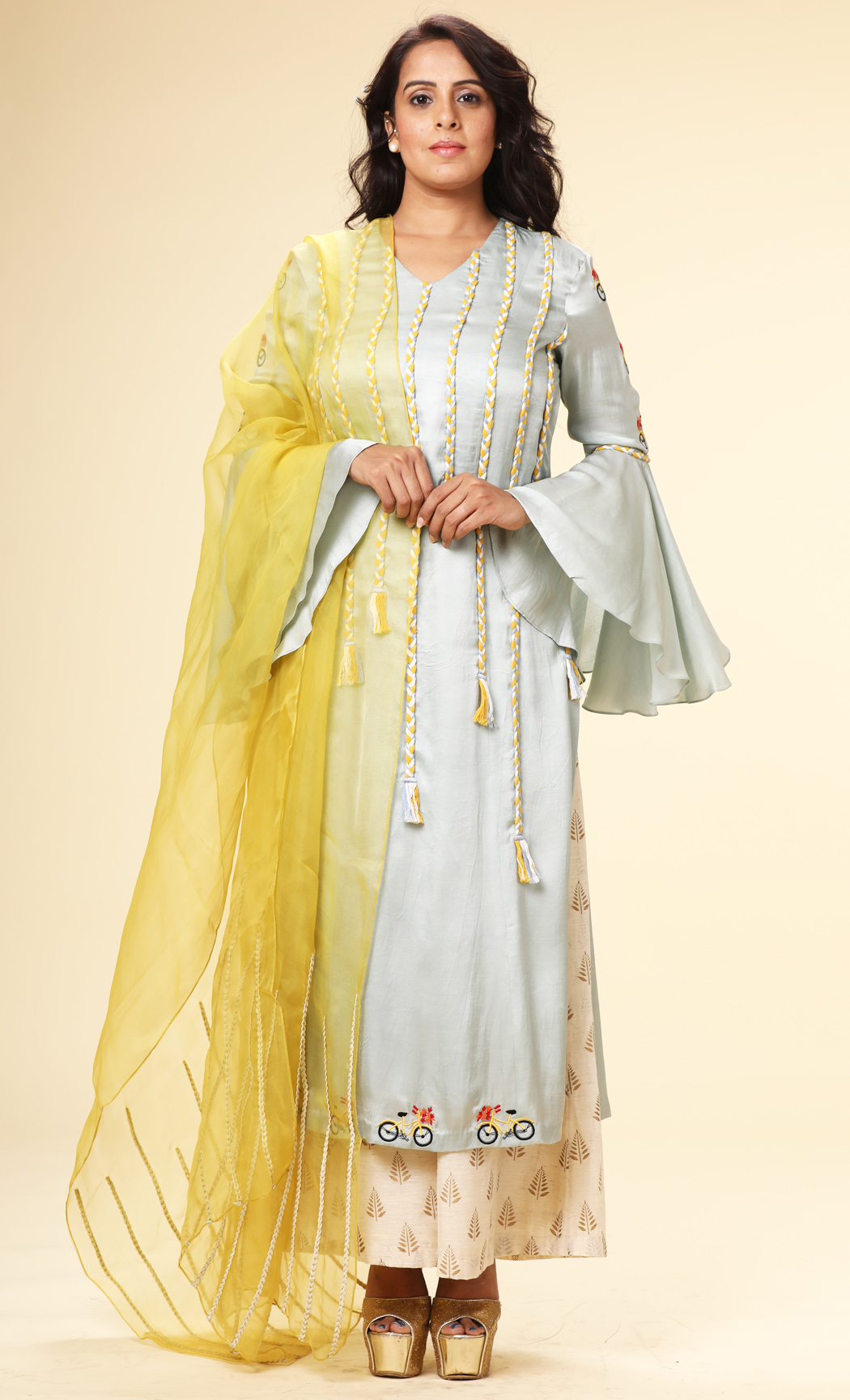 Powder Blue Bell Sleeves Kurta with a Yellow Dupatta and Pants - Buy Online