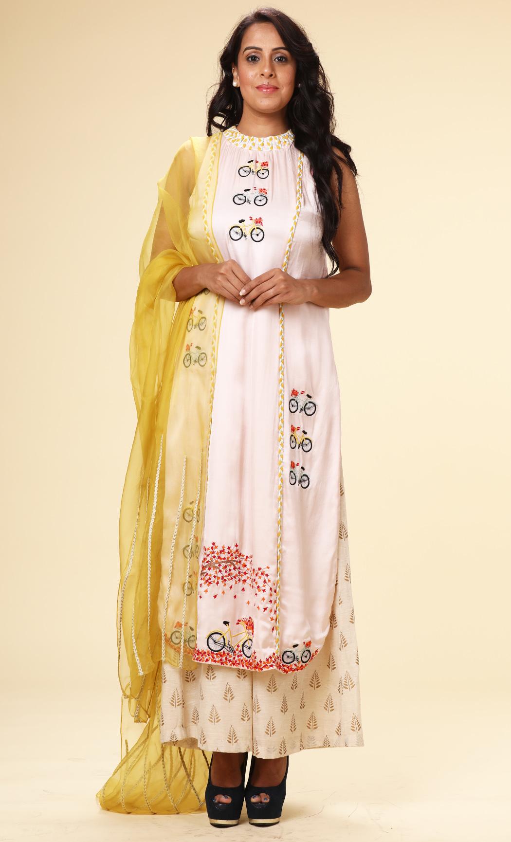 Baby Pink Straight Kurta and Yellow Dupatta - Buy Online