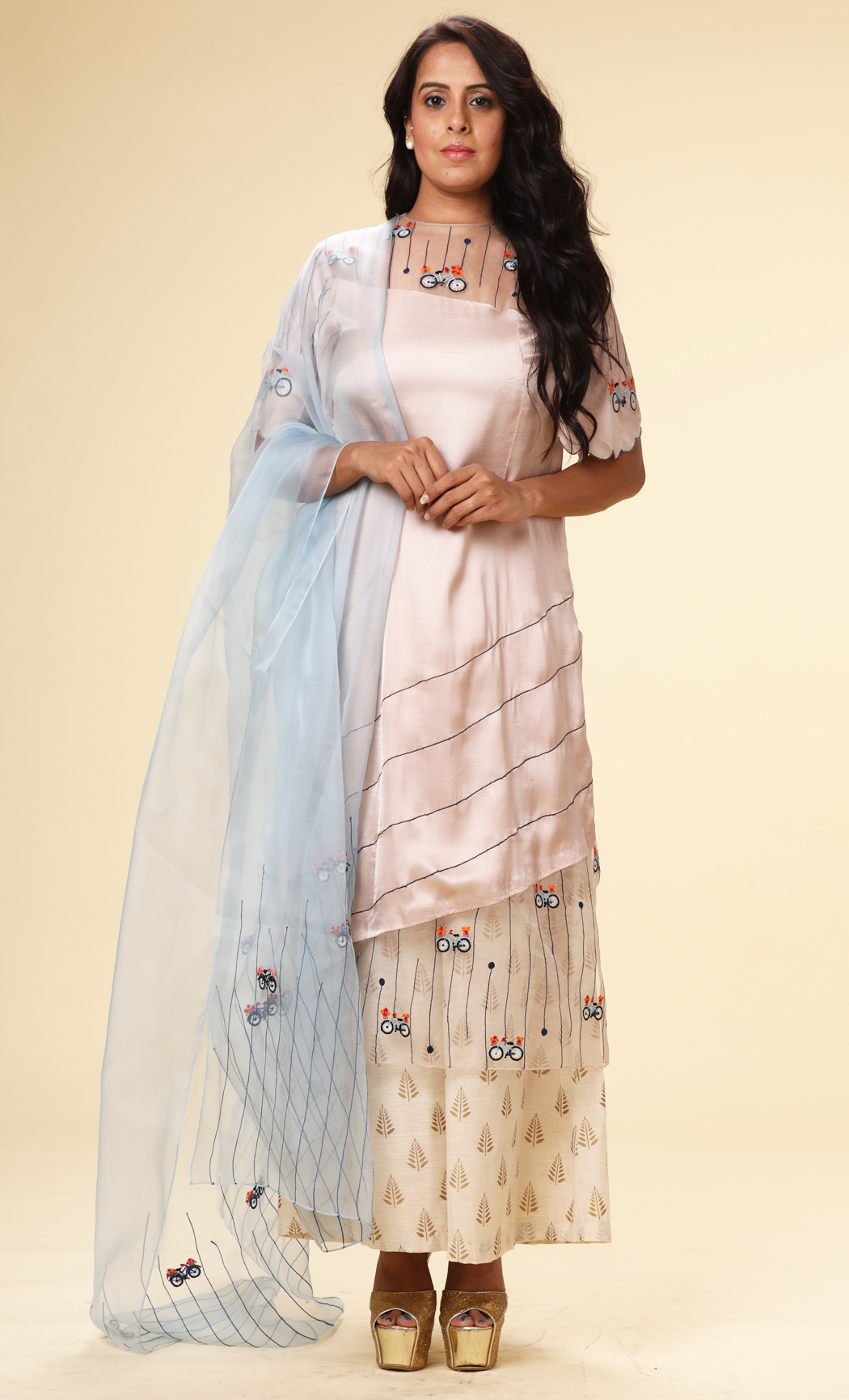 Peach Embroidered Short Kurta and Dupatta Set - Buy Online