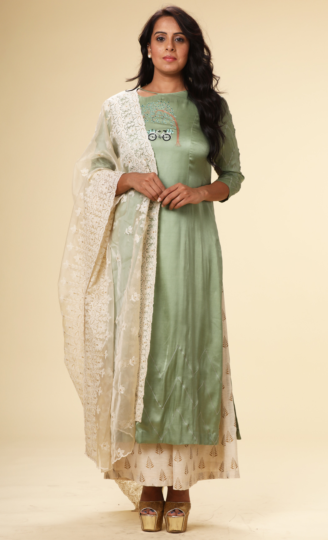 Teal Straight Kurta with an Off-White Dupatta and Pants - Buy Online